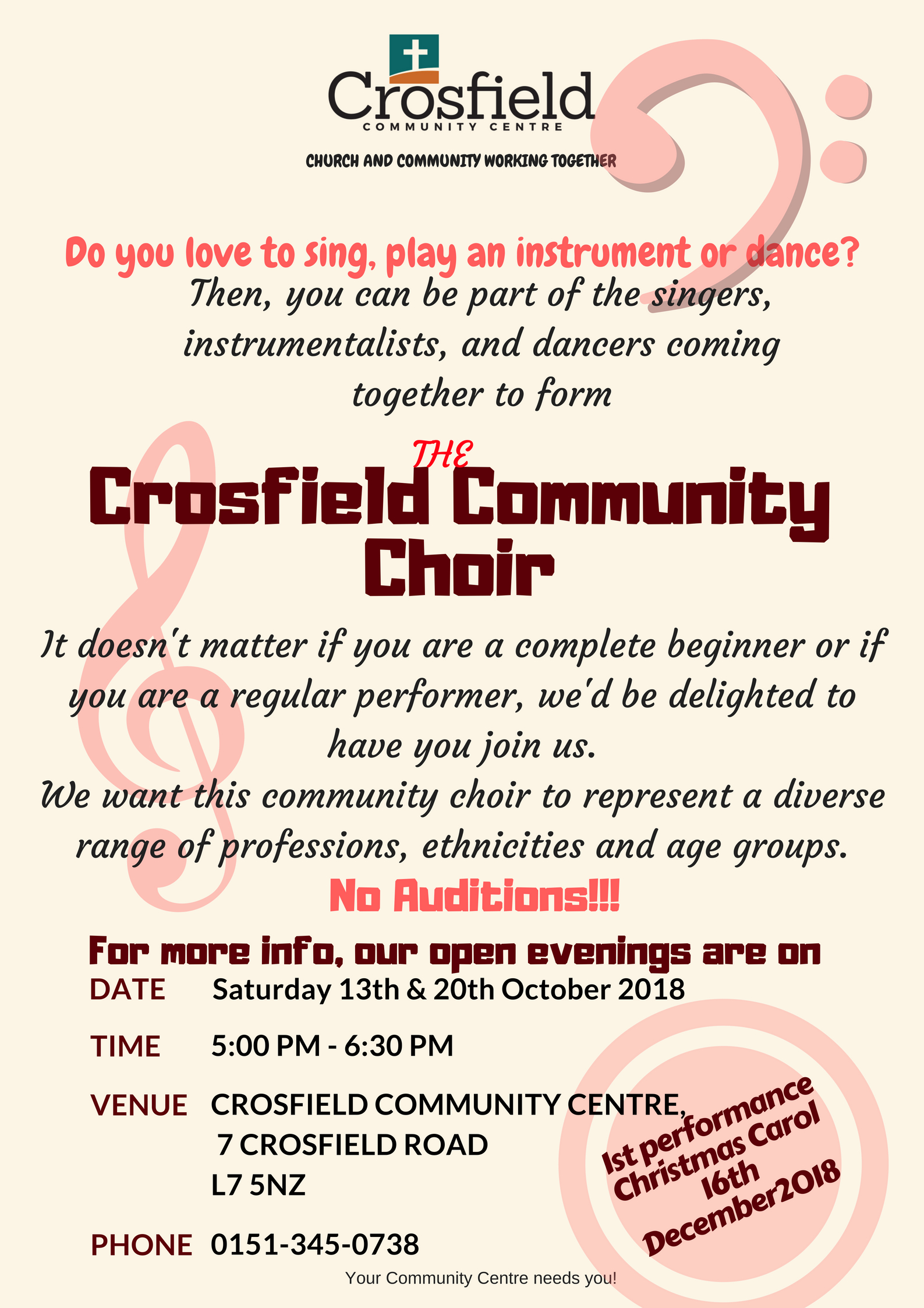Crosfield Community Choir 1st open evening @ Crosfield Community Centre