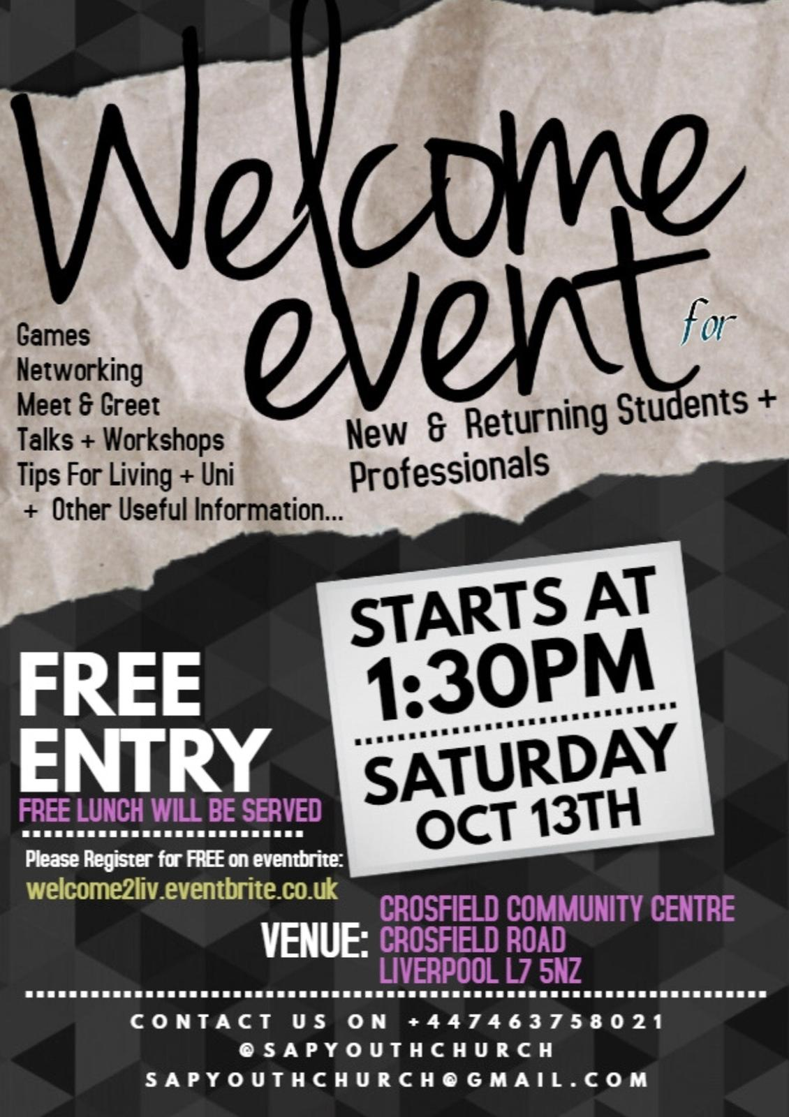 Welcome Event 2018 @ Crosfield Community Centre