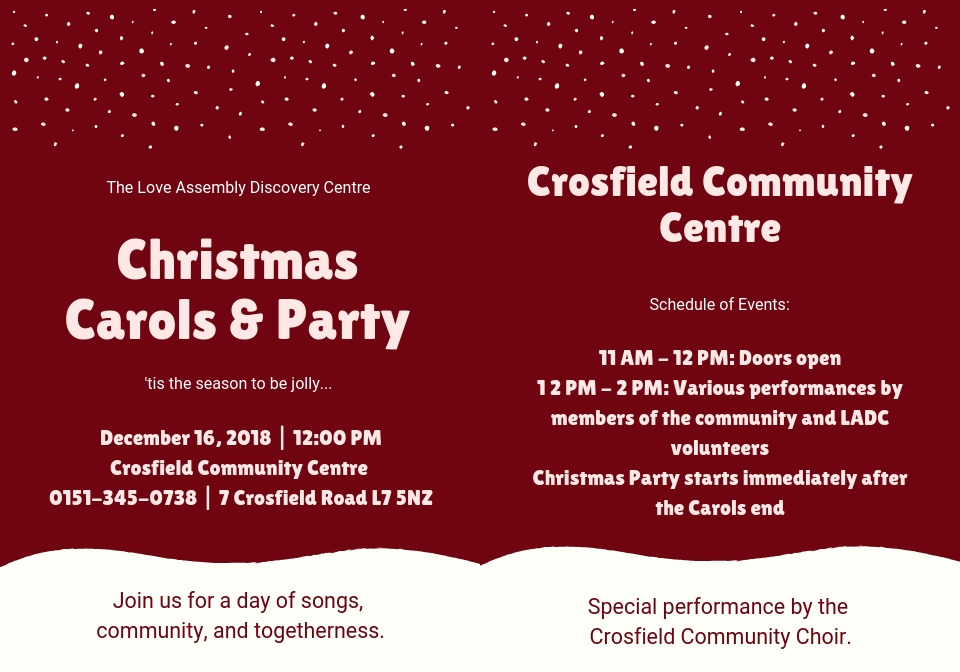 Christmas Carols and Party 2018 @ Crosfield Community Centre